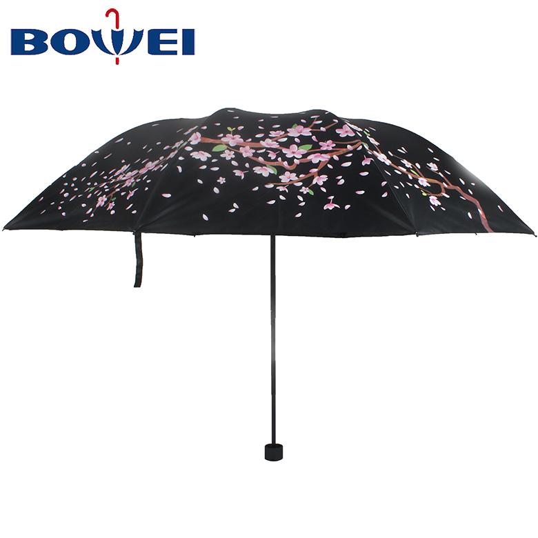 2020 china style Flower Printed Promotional Latest Design Logo Custom Manual UV Protection  Embroidered 3 Folding Umbrella
