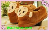 HI Monkey plush indoor slippers winter house shoes unisex warm soft slippers