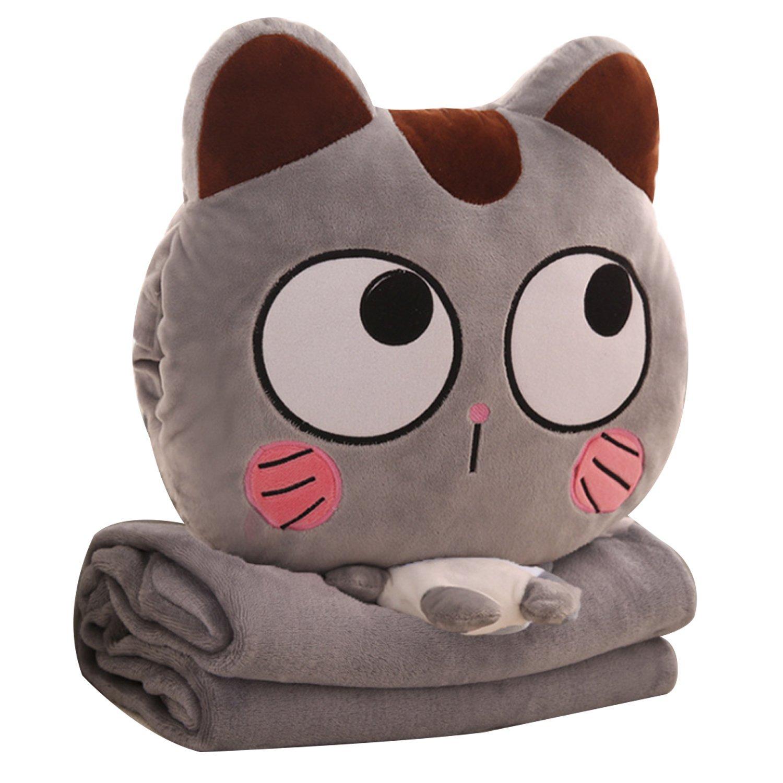 [3 in 1 Animal Pillow Blanket][Cute Cartoon sutffed Anymal Throw Pillow Blanket set][TOTOCOCO] (E)