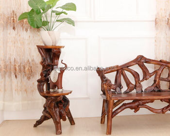 Southeast Asia Style Root Carved Plant Stand Environmental Protective Wooden Flower Shelf Double Layer
