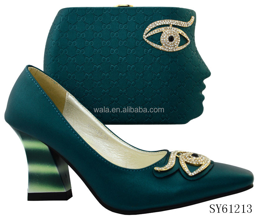 SY61213 italian fashion Square <strong>heel</strong> leather shoes and match bag with rhinestone