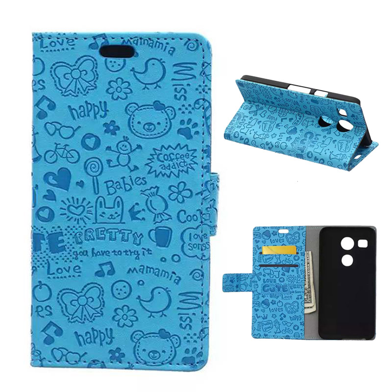 Cartoon Wallet Case For LG Nexus 5X Protective Cover Phone Pouch For Nexus 5X Flip Case With Card Slots