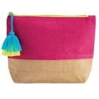 Linen embroidery cosmetic bag with tassel monogram