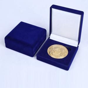Wholesale Custom Elegant Medal Medallion Coin Display Packaging Gift Box  Jewelry Ornament Velvet Box