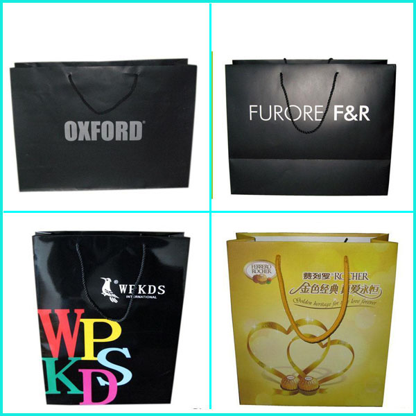 2016 unique paper design all type of carry bags packaging with handles closure