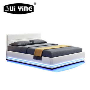 Simple style modern furniture LED light double bed A507