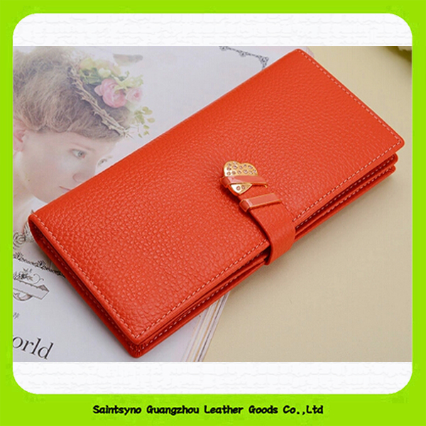15510 Popular design leather purse for lady with 7 card holders & 1 ID card/photo window