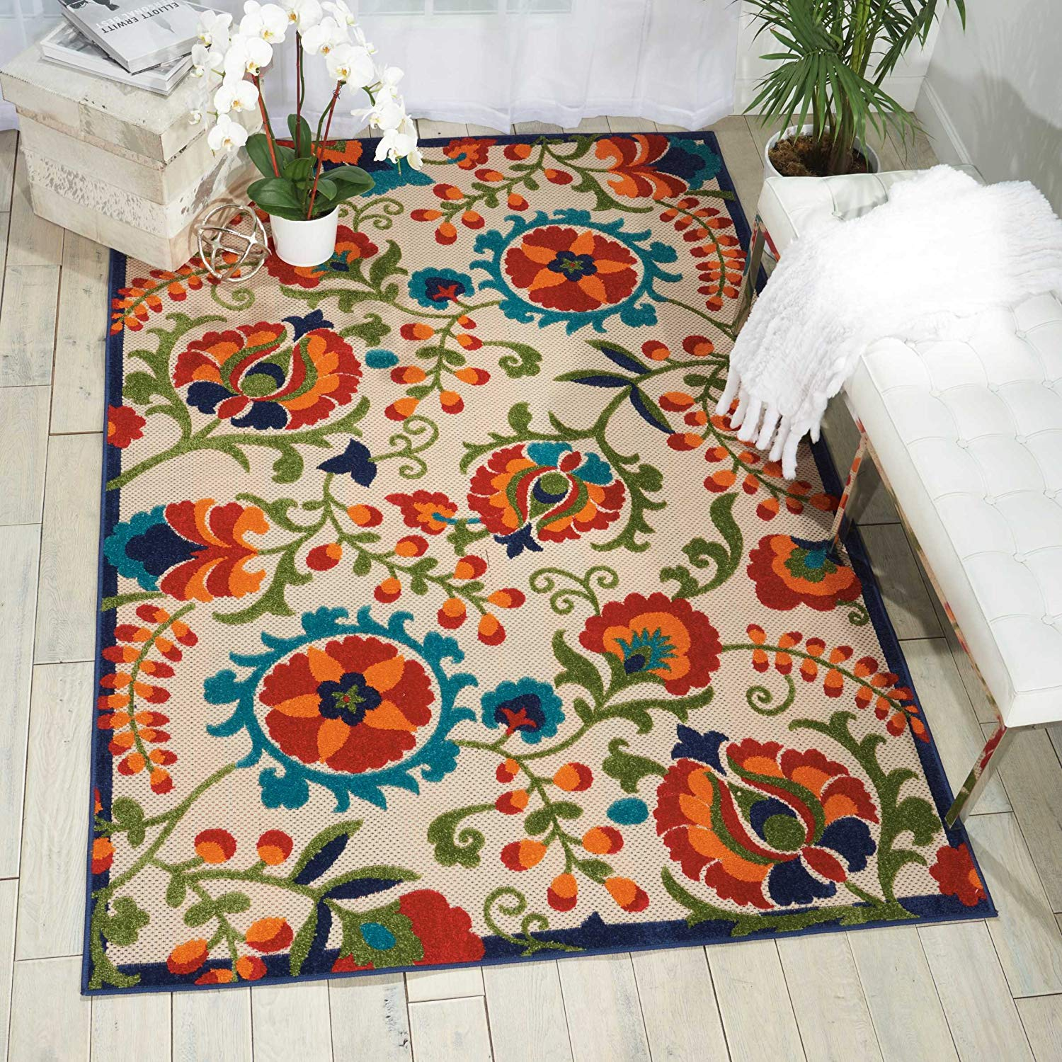 "Nourison Aloha ALH17 Multicolor Indoor/Outdoor Area Rug 5 feet 3 Inches by 7 Feet 5 Inches, 5'3""X7'5"""