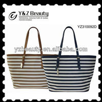 Korea Casual Tote Bag Stripe Canvas Oversized Handbag Lady Trendy Style