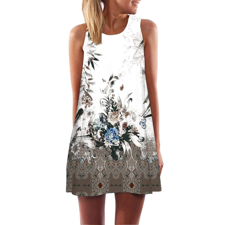 WM & MW Clearance Women Vest Dress Summer Sleeveless Crewneck Vintage Floral Dress Straight Casual Party Mini Dress