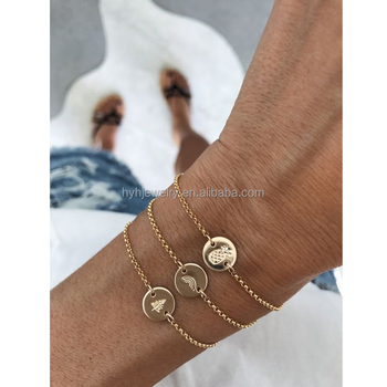 New Style Custom Thin Chain Bracelets Artificial Designs Gold Engraved Bracelet Women