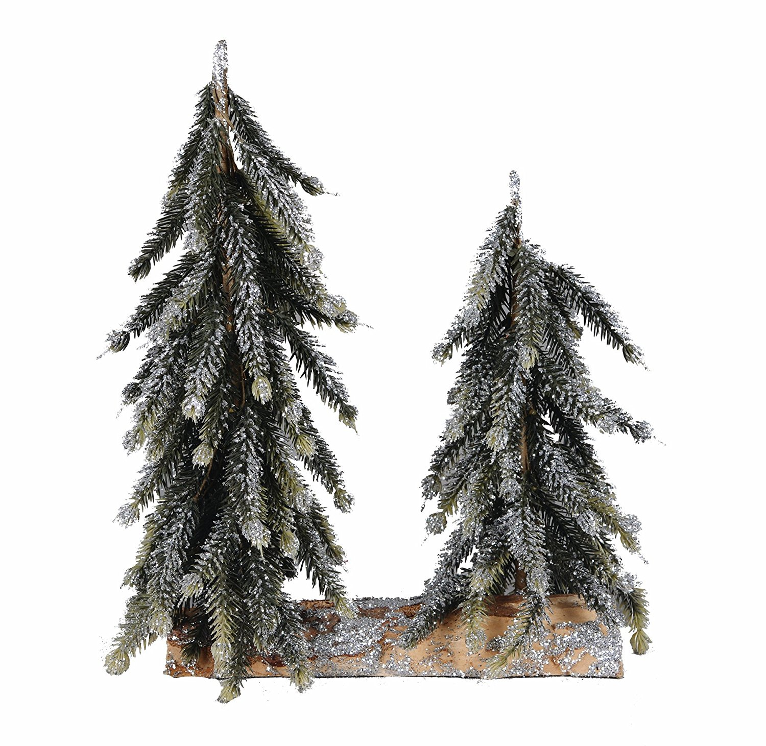 get quotations two small faux pine snowy christmas trees on log base tabletop holiday tree decoration