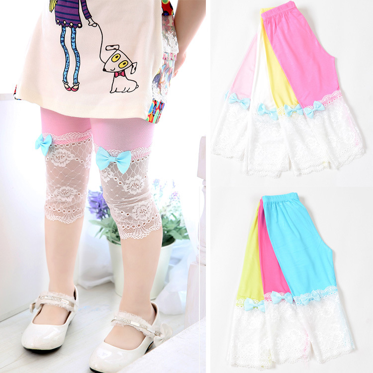 c56f09b74507f Kids girl lace bow legging pant new 2015 fashion summer children little girl  princess leggings for girls causal baby leggings