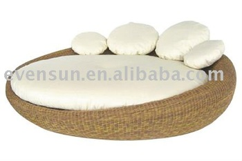 Rond en rotin lit double buy rond double lit double lit for Round double bed design