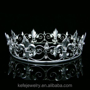 Men's Full King Crown for Theather Prom Party Clear Crystals Silver Plating