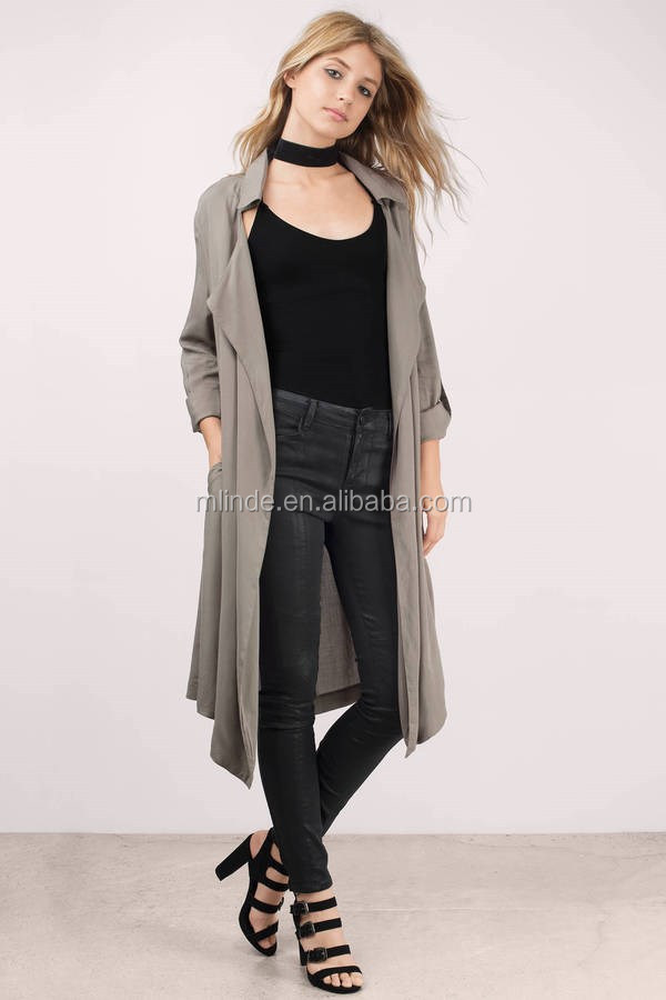 Korean Style Fashion Latest Design Blouse Casual Spring Elegant Full Length Trendy Monsoon Draped Trench Jacket Coat