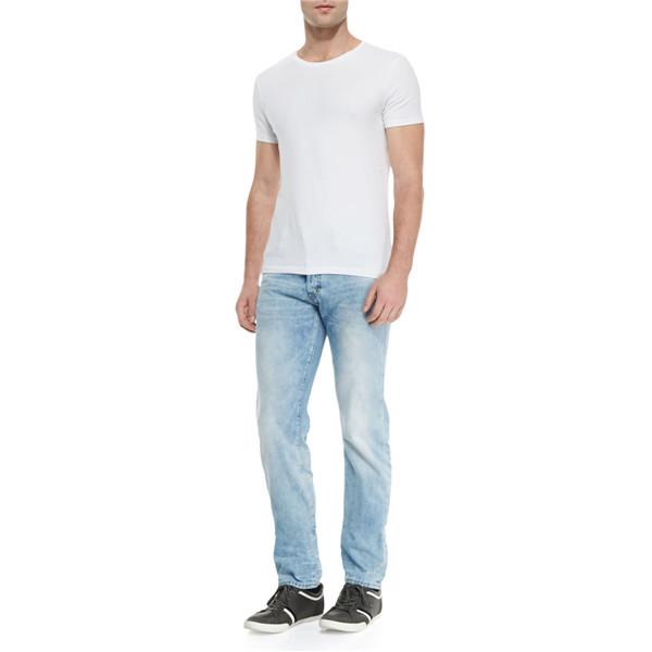 503013f5dec fashion men slim fit jeans light blue faded partial low rise denim jeans  wholesale JXQ886