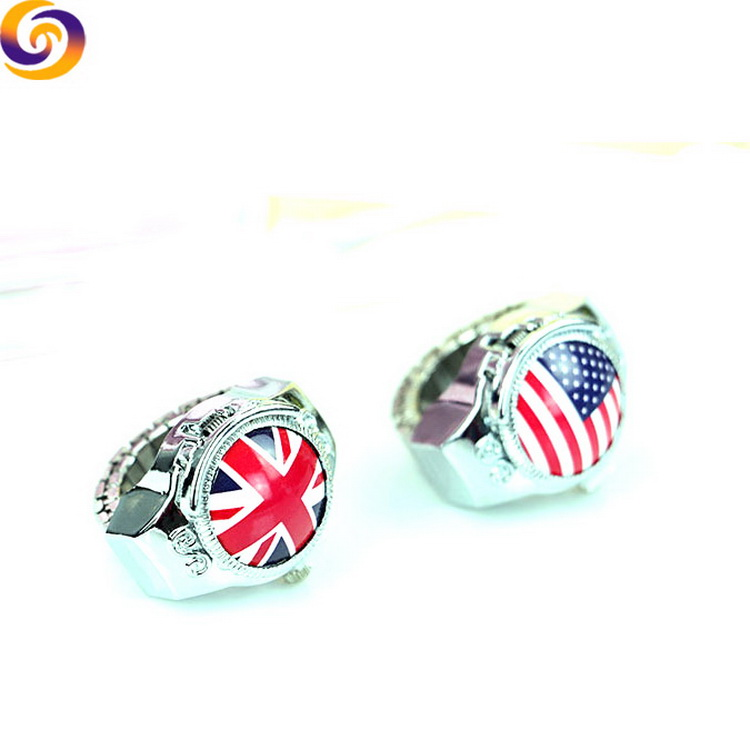 England American tourist souvenir diamond flag finger ring watch