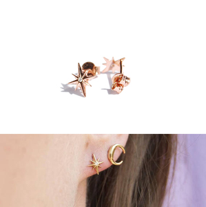 2018 new rose gold 925 sterling silver high quality multi ear hole stud pack tiny small moon star earring