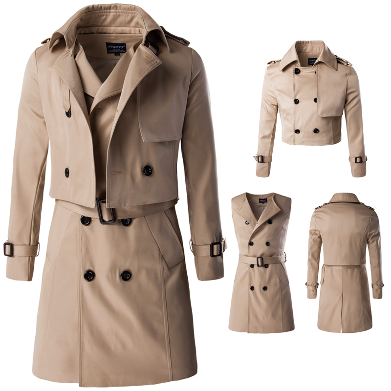 2016 New High Quality Men's Long Style Two Pieces Double Breast Trench Coat