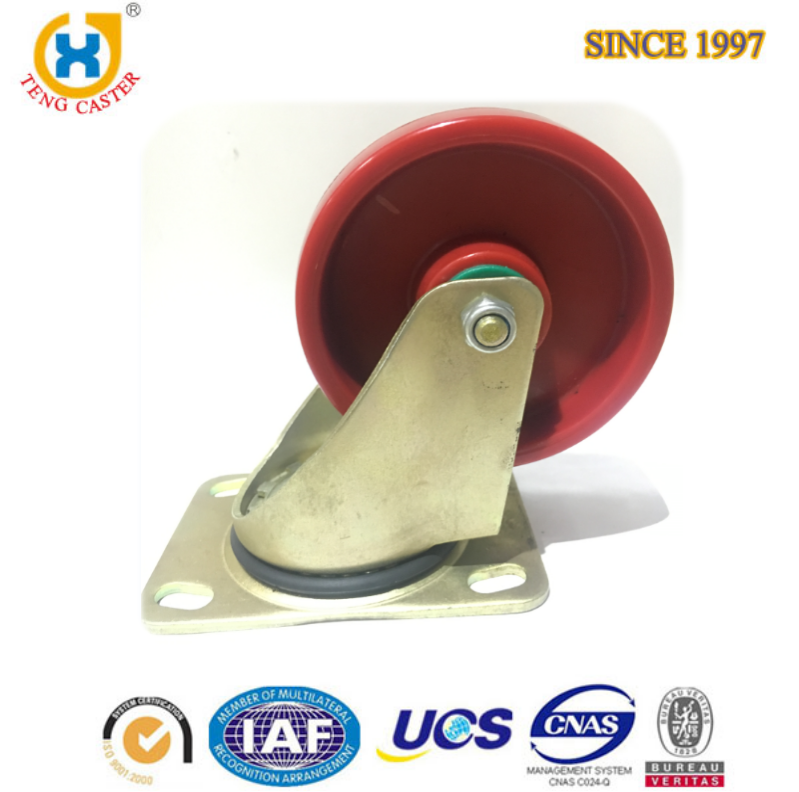 High Quality Medium Duty Industrial 5 inch metal craft wheels Red PA Caster with 140kg Load Capacity