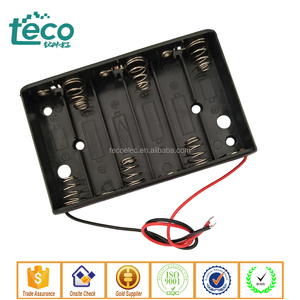 TBH-2A-6A-W Ningbo TECO Wired 6 AA Battery Holder Black for 6 x 1.5V AA Batteries