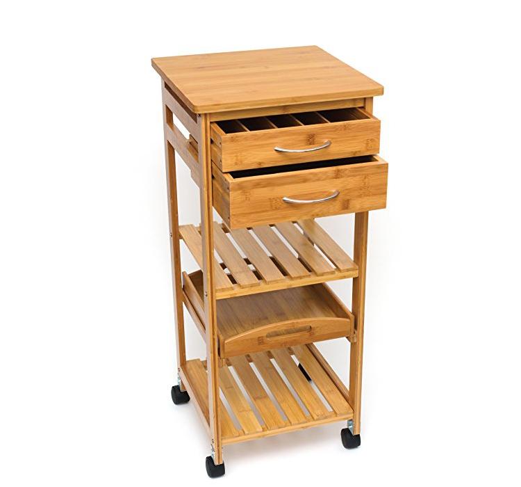 Hot Sale Home Kitchen Furniture Decor Bamboo Kitchen Trolley 3