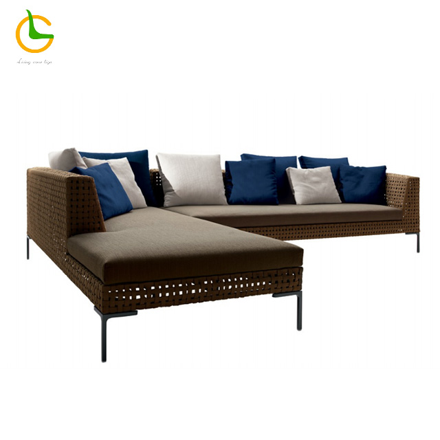 Accepted customized modern l shaped modular living room outdoor patio lounge set sectional couch