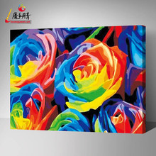 Love Queen colorful roses painting diy oil painting by number for wholesale
