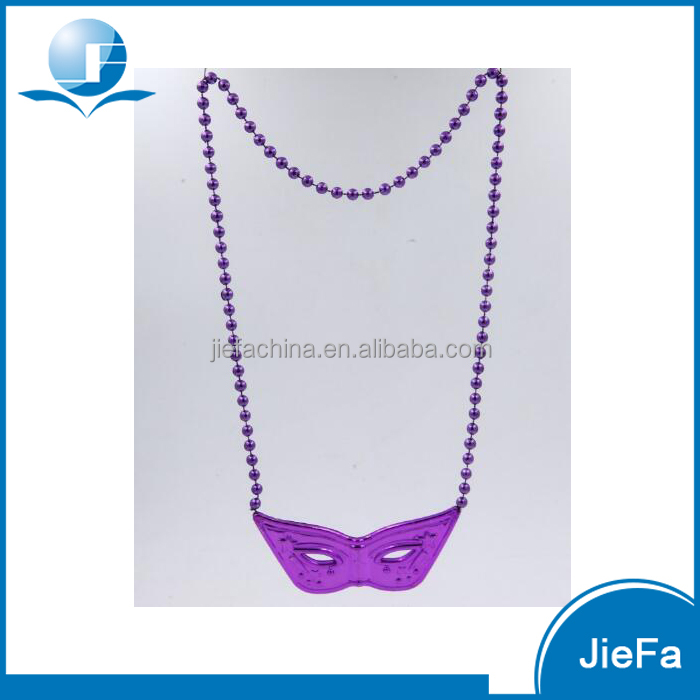 Eco-friendly Purple Metalic Plastic Party Bead Necklace