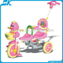 Plastic pushing baby car stroller 3 wheel children car 2012 New design Plastic Pushing Baby Tricycles with comfortable seater
