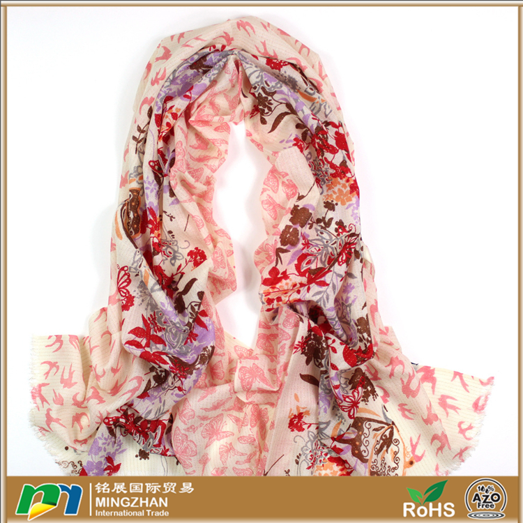 2016 New style fashionable scarf, warm long elegant beautiful butterfly and floral print 100% wool scarf shawls and wraps