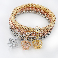2016 Luxury 3 Pcs Crystal Crown Multilayer Charm Bracelet