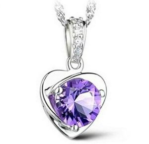 Amethyst Heart Necklace Luxurious Pendant Necklace, 3 Layer Platinum Plated Free shipping