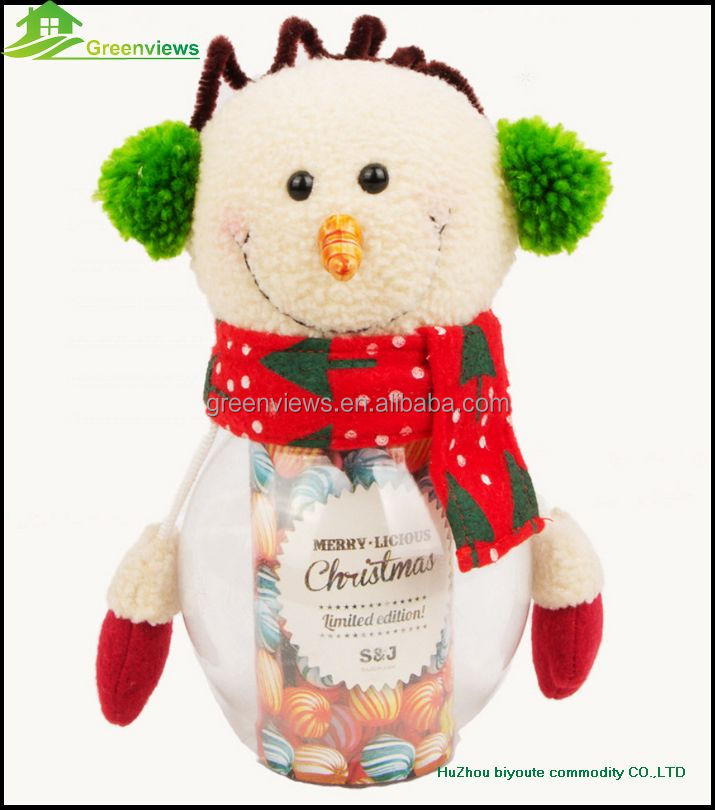 Christmas design PVC Material Storage Bottles Jars,candy jar/sugar jar Type christmas snowman Candy bottle decoration