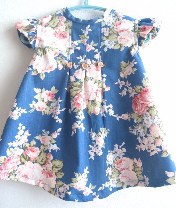 Baby girl vintage printed dress kids cotton fabric clothes for Children s cotton dress fabric