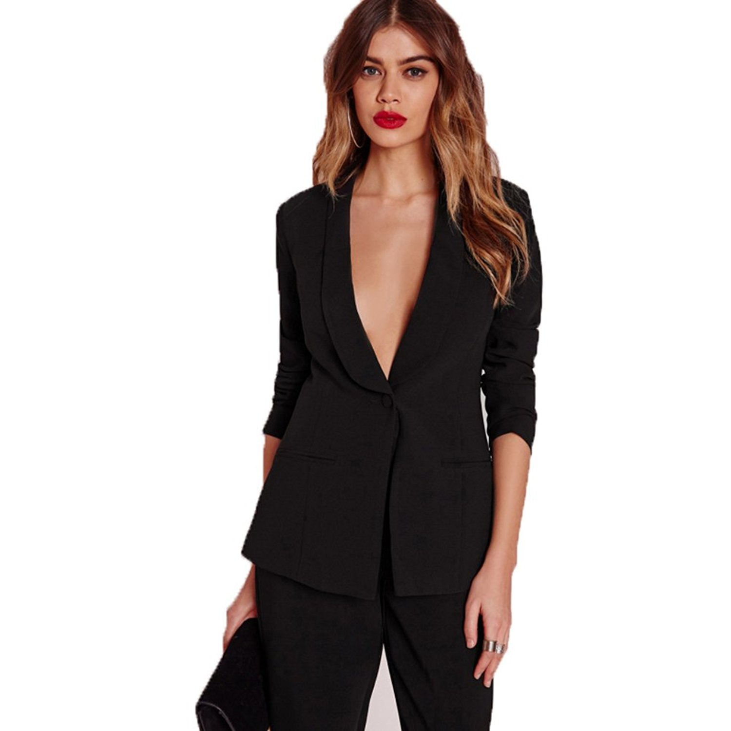 96eaf8addd Get Quotations · 2018 Black Blazer Suit Jacket Casual Slim Elegant Women  Suit Coat V Neck Sexy