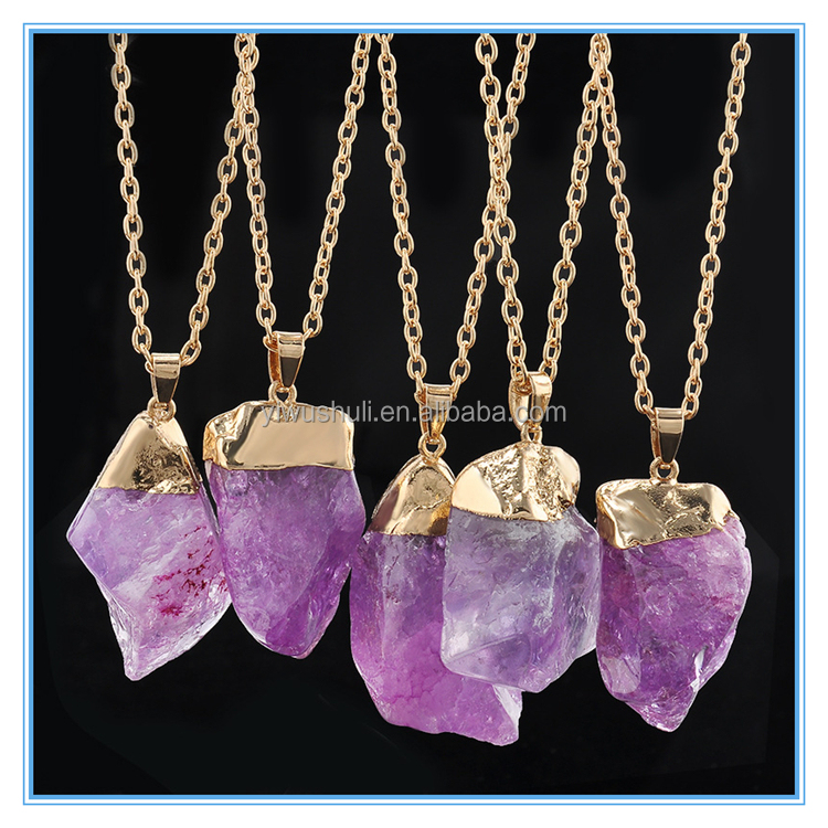 The new multicolor irregular natural quartz crystal gemstone necklace single ring pendant necklace fashion accessories
