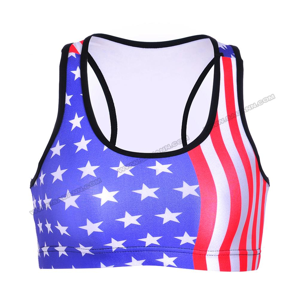 Latest casual sports running USA flag printed yoga top leggings fitness