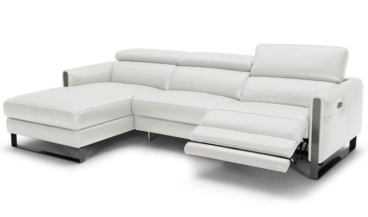 J&M Furniture Vella Italian Leather Motion Left Facing Sectional Sofa in White