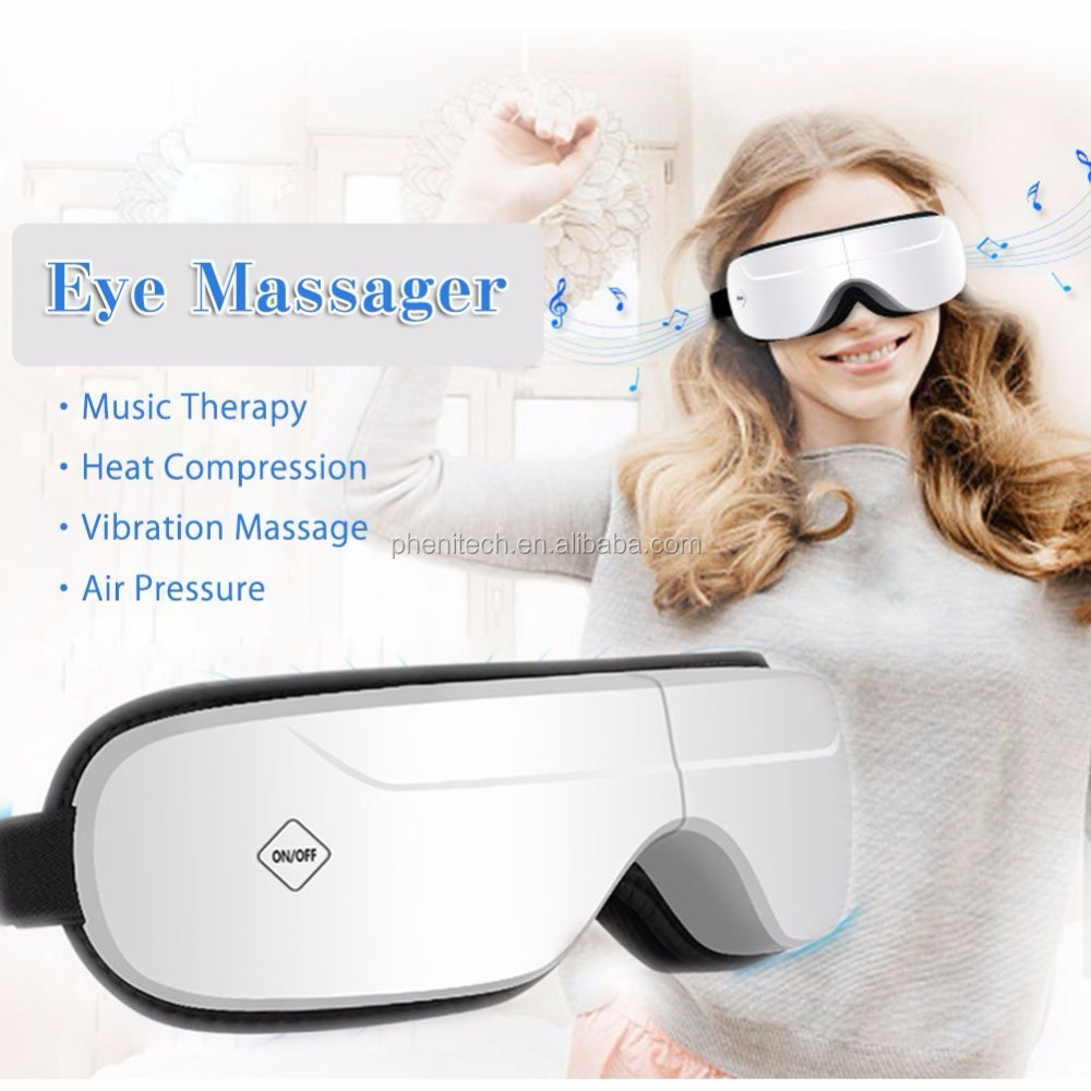 Multi-function wireless foldable eye massager with Air and heat Compression