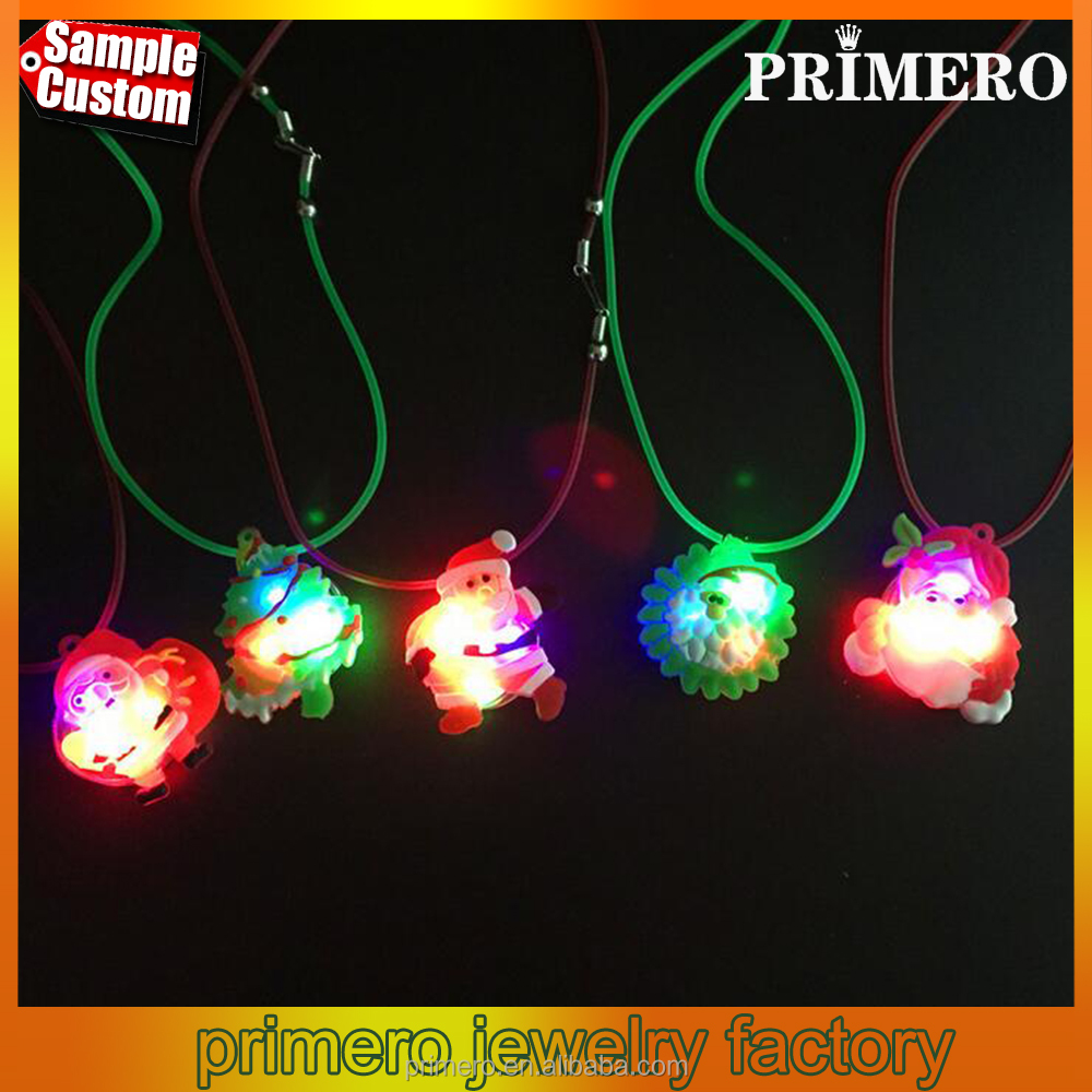Hot Christmas Tree Santa Claus Snowman Xmas LED Pendant Flashing Light Necklaces