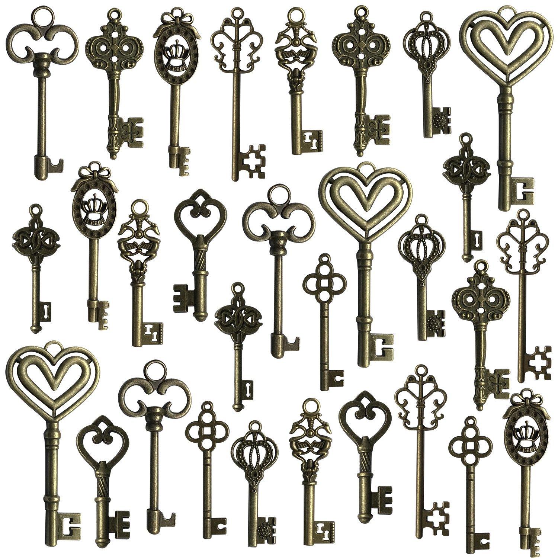 Hibery Mixed Set of 30 Antique Bronze Vintage Skeleton Keys - Decorative Old Fashioned Key for Necklace Bracelets Pendants Jewelry DIY Making Supplies Party Favors