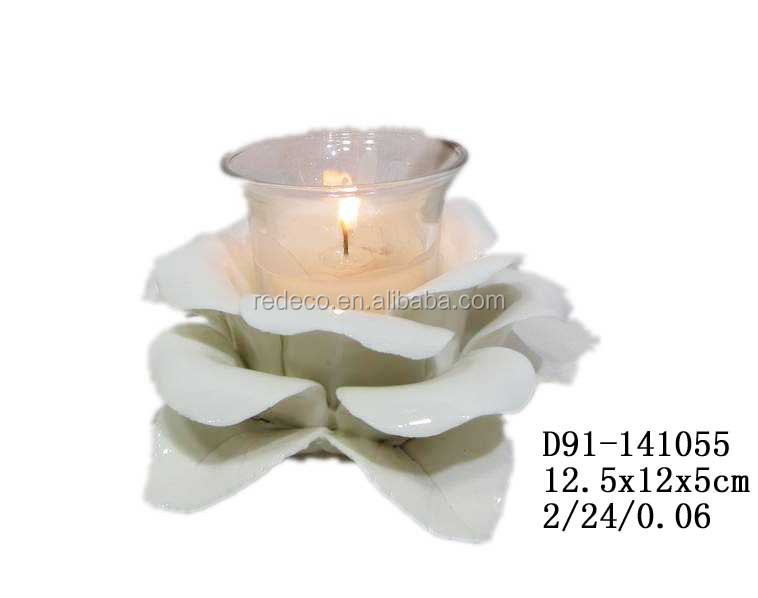 Ceramic miniature flower as flower candle holder