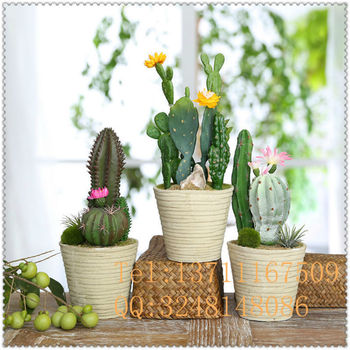 Plastic Artificial Potted Plants With Mini Yellow Flowers Green Bonsai Cactus For Home Decoration
