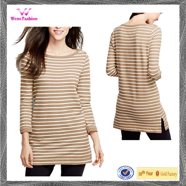 Custom New Stripe Design 3/4 Sleeve Boatneck Wholesale Tunic Tops