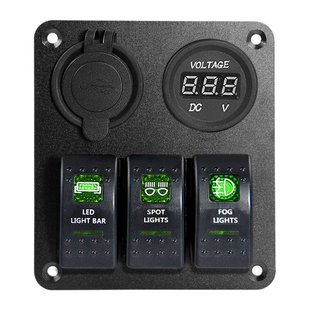Cheap High Voltage Switch Find Deals On Line At Infrared Proximity Sensor Circuit Using A Lm393 Get Quotations Proelectric Green Led Light 1 Waterproof Marine Boat Car Panel 3 Gang Usb