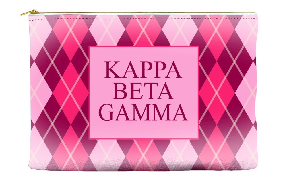 Kappa Beta Gamma Argyle Pattern Pink Cosmetic Accessory Pouch Bag for Makeup Jewelry & other Essentials