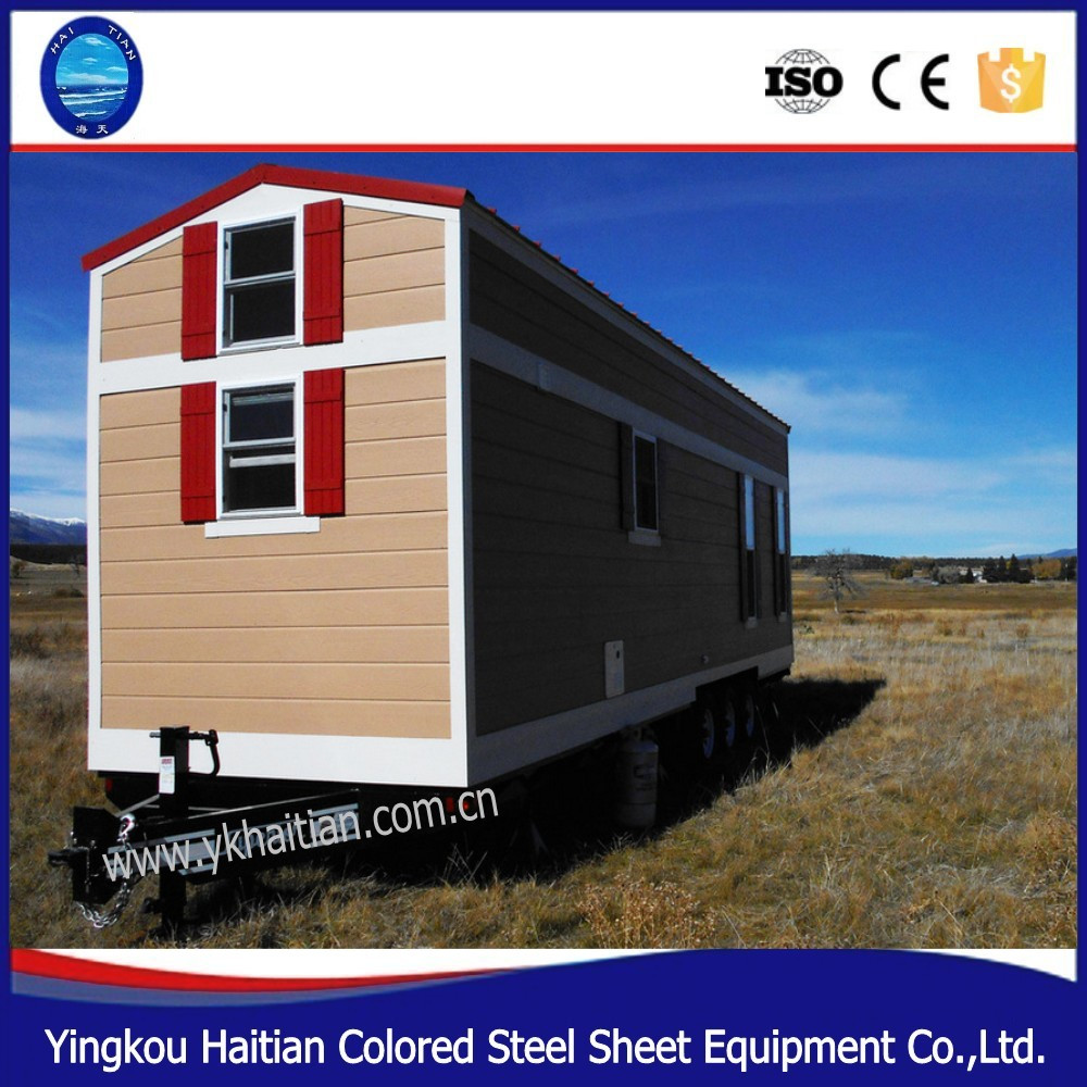 prefab self contained mobile living container house with wheels