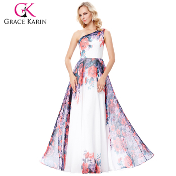 Grace Karin One Shoulder Chiffon Flower Pattern Long Prom Party Dress 7 Size US 4~16 GK000134-1